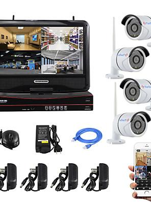 yanse® 10-tommer skærm plug and play trådløse NVR kit p2p 720p hd ir nattesyn sikkerhed ip kamera wifi CCTV-system