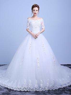 볼 드레스 웨딩 드레스 채플 트레인 오프 더 숄더 레이스 / 새틴 / 튤 와 비즈 / 레이스