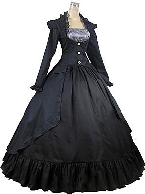 Uma-Peça/Vestidos Lolita Clássica e Tradicional Inspiração Vintage Cosplay Vestidos Lolita Preto Vintage Manga Comprida Comprimento Longo