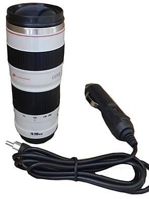 450ml kameralinsen krus rejse varmekoppen biladapter rustfrit stål liner isolering kop kaffe el krus