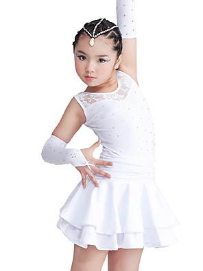 ריקוד לטיני שמלות בגדי ריקוד ילדים ביצועים ספנדקס / פוליאסטר קריסטלים / rhinestones / תחרה / שכבות 3 חלקים בלי שרוולים שמלות / כפפות