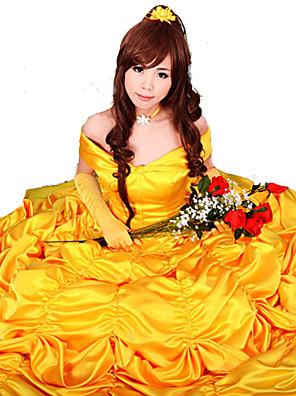 Fantasias de Cosplay / Festa a Fantasia Conto de Fadas Festival/Celebração Trajes da Noite das Bruxas Amarelo Cor Única Vestido / Luvas