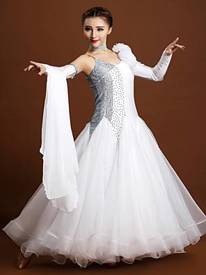 הופעות שמלות בגדי ריקוד נשים ביצועים ספנדקס / טול קריסטלים / rhinestones / פרח (ים) 3 חלקים שרוול ארוך טבעי שמלות / Neckwear / צמיד