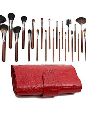 25 Conjuntos de pincelEscova de Cabelo Mink / Escova de Cabelo de Cabra / Escova Poney / Escova Esquilo / Escova Doninha / Escova de