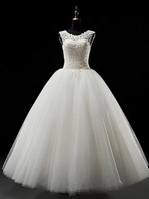 볼 드레스 웨딩 드레스 바닥 길이 스쿱 튤 와 아플리케 / 비즈