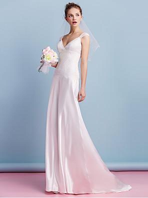 Lanting bruden skjede / kolonne brudekjole-feie / børste tog v-hals charmeuse