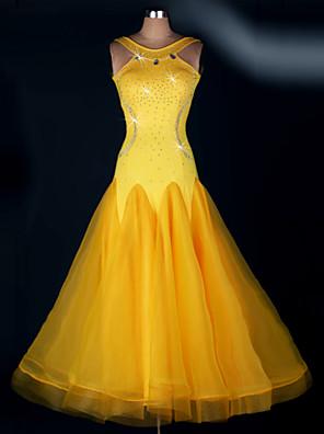 Standardní tance Šaty Dámské Výkon elastan Nařasený Jeden díl Šaty Dress length S-XXL: 125cm