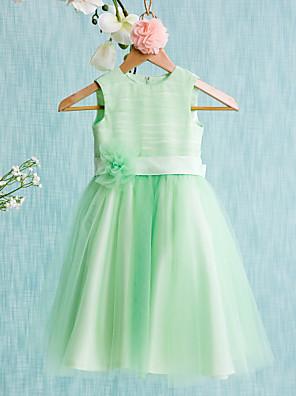 Da ballo Al ginocchio Abito da damigella d'onore bambina - Raso / Tulle Senza maniche Con decorazione gioiello con