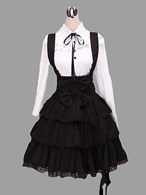 camisa de manga longa na altura do joelho suspender saia de algodão roupa lolita clássico