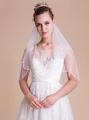 Véus de Noiva Duas Camadas Véu Cotovelo Borda Recortada / Corte Pérola Tule Branco / Bege