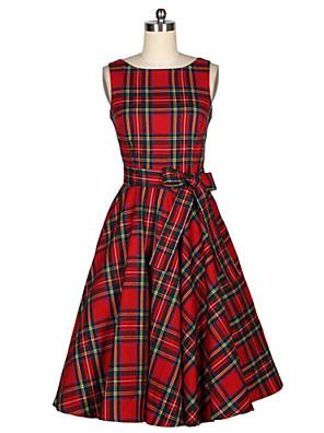 Mulheres Vestido Evasê Vintage Xadrez Médio Decote Redondo Algodão
