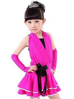 ריקוד לטיני תלבושות בגדי ריקוד ילדים ביצועים ספנדקס נצנצים 4 חלקים בלי שרוולים טבעי כפפות / שמלות / סט חזייה ותחתוניםS:52cm M:60cm L:62cm