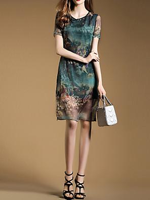 Dámské Čínské vzory Velké velikosti Šaty Tisk Kolopy do špičky Délka ke kolenům Hedvábí