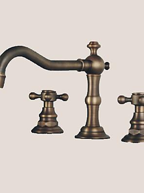 udbredt to håndtag tre huller i antik bronze håndvasken vandhane