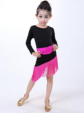 Dança Latina Vestidos Crianças Actuação Fibra de Leite Borla(s) 1 Peça Luva de comprimento de 3/4 Natural VestidosDress Length:XS:52cm