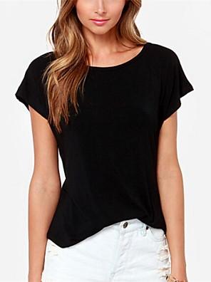 De las mujeres Simple Casual/Diario Verano Camiseta,Escote Redondo Un Color Manga Corta Blanco / Negro Medio