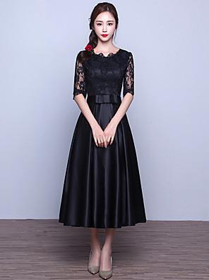 Formal Evening Dress A-line Jewel Tea-length Lace / Satin with Sash / Ribbon
