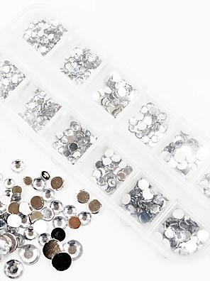 1200pcs ab kleur acryl diamant nail art decoraties 1,5 / 2/3/4/5/6 mm