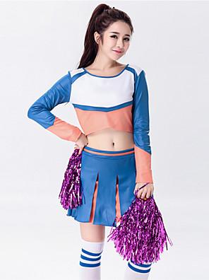 Fantasias para Cheerleader Roupa Mulheres Actuação Algodão / Poliéster Plissado 2 Peças Manga Comprida Alto Saia / Top