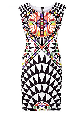 Women's Vintage Print Bodycon Dress,Round Neck Above Knee Polyester