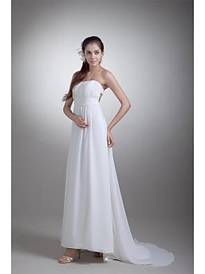 시스 / 칼럼 웨딩 드레스 스윕 / 브러쉬 트레인 끈없는 스타일 쉬폰 / 새틴 와 드레이프트