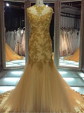 Formal Evening Dress Trumpet / Mermaid Jewel Court Train Lace / Tulle with Appliques / Beading / Lace / Sash / Ribbon / Sequins