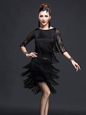 ריקוד לטיני תלבושות בגדי ריקוד נשים ביצועים Chinlon / ניילון תחרה / גדיל (ים) 6 חלקים חצי שרוול גבוה חצאית / צמיד / עליון