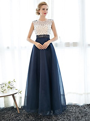 Formal Evening Dress Sheath / Column Jewel Floor-length Lace / Tulle with Pearl Detailing