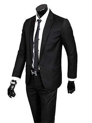 2017 חליפות רזה חריץ בכושר רכיסת תערובת כותנה בלחיצת כפתור 2 מוצקות חתיכות ישר התנופפו אף