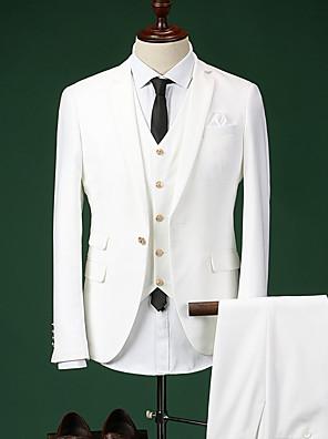Obleky Na míru Otevřené Jednořadé s jedním knoflíkem Směs bavlny Jednobarevné 3 ks Modrá / Bílá / Námořnická Rovné s klopouŽádný (rovné