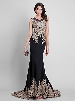 Evento Formal Vestido Sereia Decote em U Cauda Escova Elastâno com Detalhes em Cristal