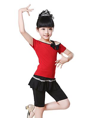 בלט תלבושות בגדי ריקוד ילדים אימון כותנה קשת (תות) 2 חלקים שרוול קצר טבעי מכנסיים / עליון100:42cm, 110:45cm, 120:47cm, 130:48cm,