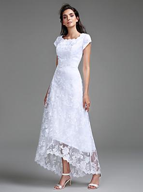 시스 / 칼럼 웨딩 드레스 비대칭 스쿱 레이스 와 레이스