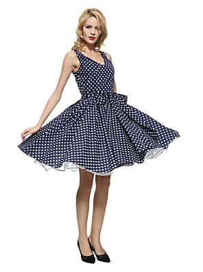 Maggie Tang Women's 50s Vintage Polka Dots Rockabilly Hepburn Pinup Business Swing Dress ,Plus Size