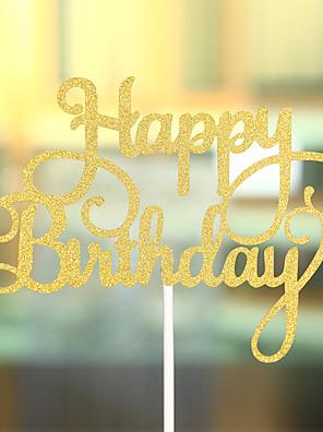 Taarttoppers Niet-persoonlijk Harten Kaart Papier Verjaardag Boog Goud Strand Thema / Klassiek Thema 1 OPP