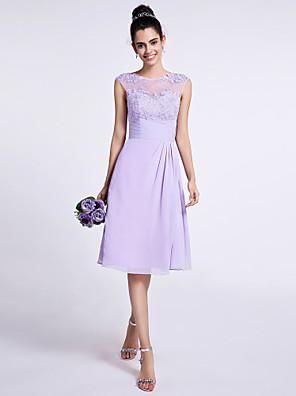 באורך  הברך שיפון שמלה לשושבינה - גזרת A עם תכשיטים עם אפליקציות