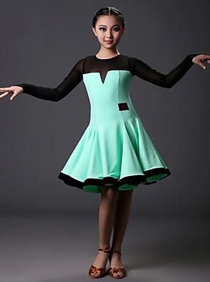 ריקוד לטיני שמלות בגדי ריקוד ילדים אימון טול / לייקרה עטוף חלק 1 שרוול ארוך טבעי שמלות S:73cm M:74cm L:75cm XL:76cm XXL:77cm