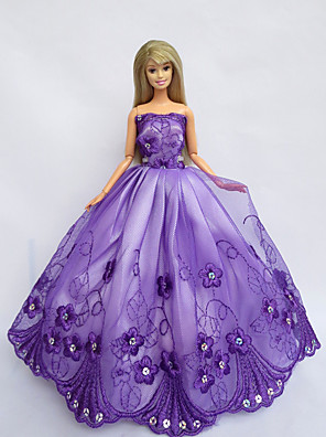 Prinsesse Kjoler Til Barbie Doll Lilla Kjoler For Pigens Doll Toy