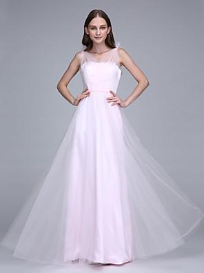 Lanting Bride® Na zem Tyl Šaty pro družičky Pouzdrové Popruhy s Šerpa / Stuha