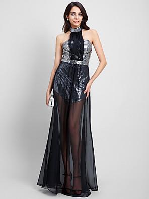 2017 TS נדן רשמי couture® שמלת הערב / טור קולר באורך רצפת שיפון / פאייטים עם פאייטים