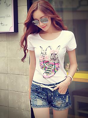 Rosa Doll® Damen Rundhalsausschnitt Kurze Ärmel T-Shirt Weiß-X15BTS170