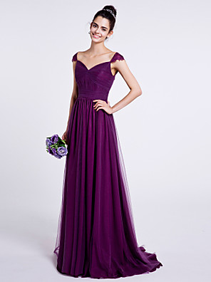 Lanting Bride® שובל סוויפ \ בראש טול שמלה לשושבינה - גזרת A מחשוף לב עם תד נשפך / סלסולים