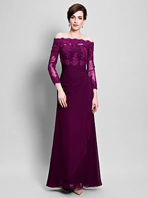 Lanting Bride® Tubinho Vestido Para Mãe dos Noivos Longo Chiffon / Tule - Apliques / Drapeado Lateral / Franzido