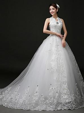 2017 כדור שמלת חתונת שמלת משפט רכבת קולר תחרה / טול עם אפליקציות / ואגלים