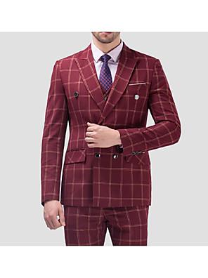 2017 obleky standardní fit zářez double breasted o čtyři tlačítka bavlna kostkovaný 3 ks