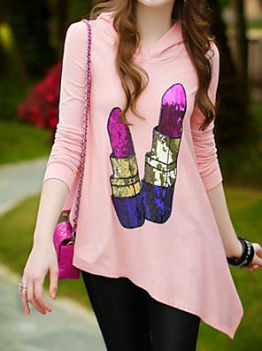 Rosa Doll® Damen Rundhalsausschnitt Lange Ärmel Kapuzenpullover & Sweatshirts Rosa-X14ASW016