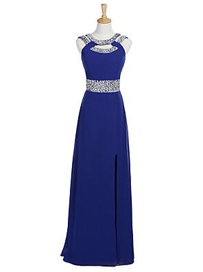 포멀 이브닝 드레스 A-라인 스쿱 바닥 길이 쉬폰 와 비즈