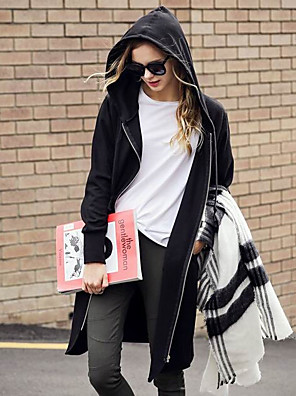 Women's Solid Black/Gray Coat , Casual Long Sleeve Cotton Blends