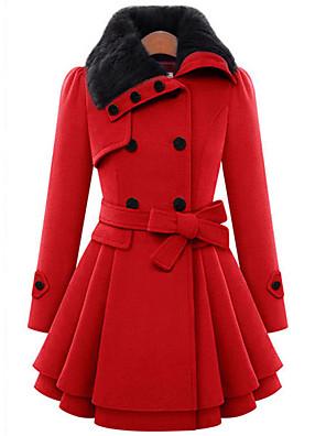 Feminino Casaco Casual Fofo Inverno, Sólido Vermelho / Marrom Lã / Algodão Colarinho de Camisa-Manga Longa Grossa