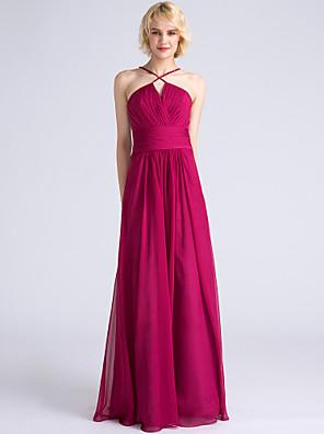 2017 Lanting bride® podlahy Délka šifónové družička šaty plášť / sloupec špagetová ramínka s criss cross / ruching